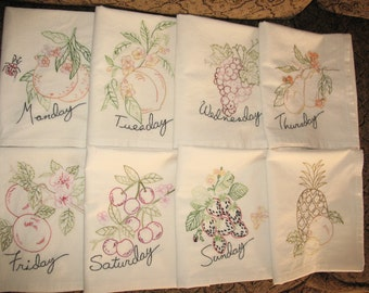FREE SHIPPING Handmade Embroidered Tea Towels Muslin Set of 8 Fruity Days