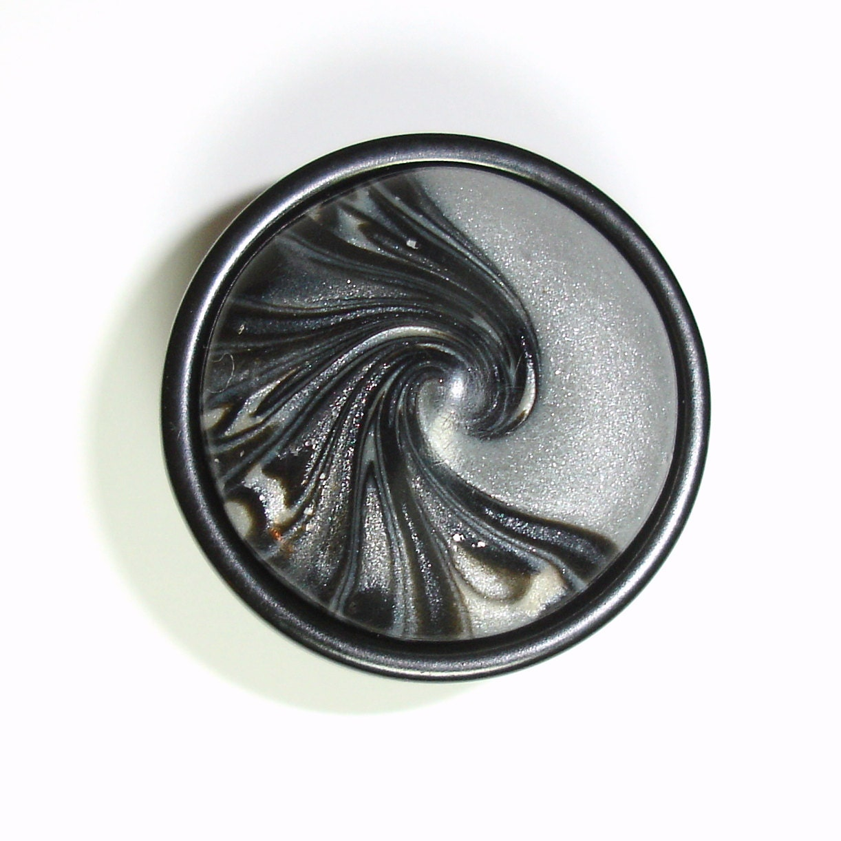 Unique black silver gray swirl cabinet knob drawer pull by for Unique door knobs