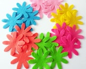 Felt flower, set of 24 pieces, Die Cut Shapes, Felt Garland, Felt Hair Clips, Applique, Confetti, Party Supply, DIY Wedding