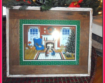 Authentic Barnwood Frame Featuring Christmas at Home