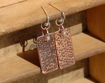 Polka Dot  Earrings Copper Earrings Textured Earrings Dangle Earrings Drop Earrings Rectangle Earrings Modern Earrings