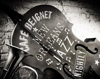 New Orleans French Quarter Cafe Beignet Jazz Black& White