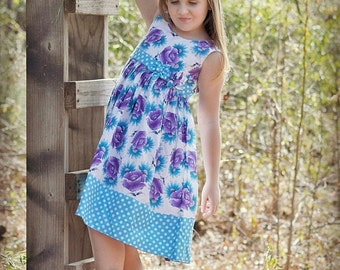 Girls Dress SEWING PATTERN, Easy Dress, Spring/Summer Dress with Headband, Girls Clothing Pattern, Scoop Neck Dress Pattern
