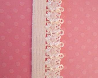 Narrow White Elastic. Lace Edged White Elastic. 5 YARDS. Lacey Edged elastic White.