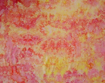 Ice Dyed  Fabric, Hand Dyed Quilt Cotton, Fiery Inferno No. 1, One Yard (LS) #140