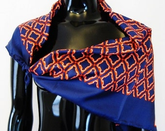 Adele Simpson-- Vintage Large Navy Blue/True Red Geometric Design Silk Scarf