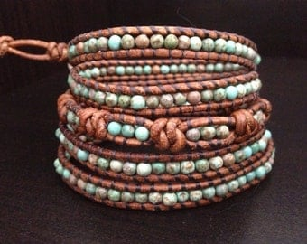 Genuine Turquoise and sterling silver beaded Leather Wrap bracelet artisan made original couture jewelry