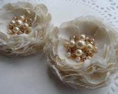 Bridal Ivory Hair Clips / Wedding Hair flowers /Bridal Flowers Hair Accessory / Shoe Clips/ Set of 2 Handcrafted Flowers