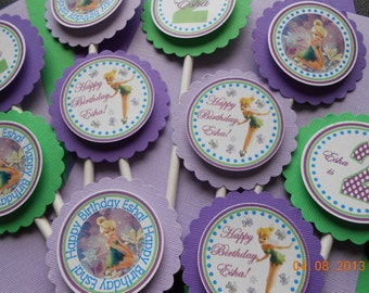 Tinkerbell Cupcake Toppers-Tinkerbell Birthday Cupcake Toppers-Tinkerbell Decoration-Tinkerbell Birthday-Tinkerbell Party-Purple and Green