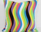 Decorative Striped Pillow Cover, Yellow, Green, Orange, Blue, Black, Purple, 16 x 16