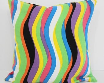 Decorative Striped Pillow Cover, Yellow, Green, Orange, Blue, Black, Purple, 16 x 16