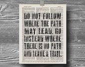 book page dictionary art print poster do not follow quote typography vintage decor inspirational motivational  ralph waldo emerson