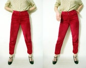 Vintage 80s Benetton High Waist Cranberry Corduroy Tapered Leg Pants