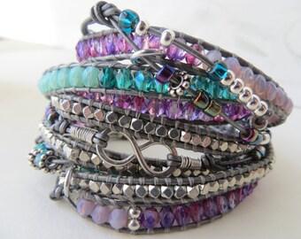 Forever Bracelet-Eternity Bracelet-Leather Infinity Bracelet-Eternity Symbol-Infinity Pendant-Now & Forever-Infinity Symbol-Circle Bracelet