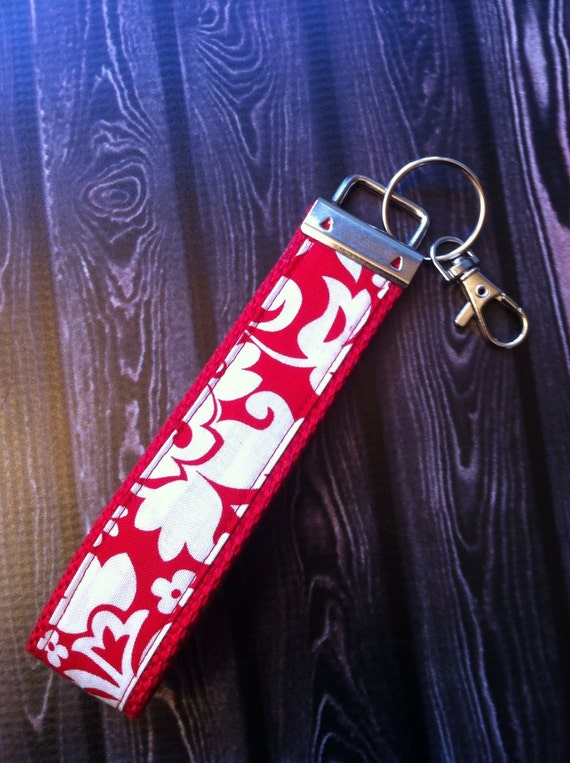 Red Damask key fob wristlet on red cotton webbing with swivel lobster clasp