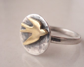 Rustic Swallow Button Ring Rustic Swallow Ring Silver Swallow Ring Gold Bird Ring Raw Bird Ring Flying Swallow Ring - Sterling Silver (925)