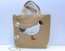 RESERVED Handmade embroidery/jute tote bag/pigeon/artistic/appique//Delos Island/eco friendly/unique/beach/summer