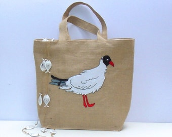 Pigeon Handmade, hand-embroidered, applique jute tote bag, one o a kind, beach, summer bag