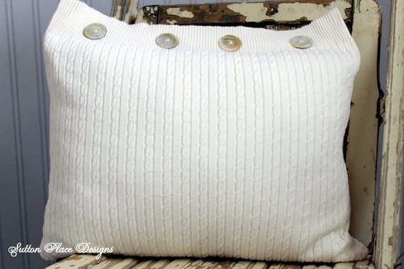 Upcycled Sweater Decorative Pillow Ivory by SuttonPlaceDesigns