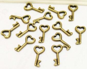 25pcs Antique Bronze Mini Heart Shape Skeleton Key Charm Pendants 8x16mm E502-2
