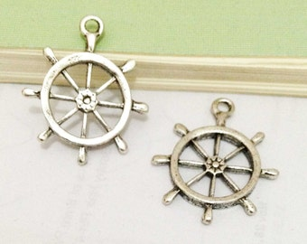 Rudder Charms -15 pcs of Antique Silver Rudder Charm Pendants 25x28mm AA407-6