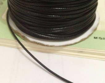 32ft -10 meters of Black color Wax Cord,  Imitation Leather 1mm Thickness for Handmade Bracelets
