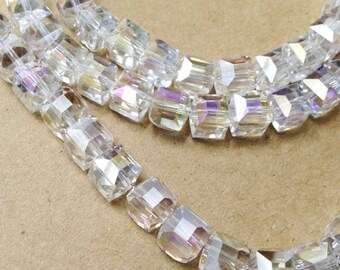 25pcs Rainbow Clear White Czech Glass Faceted Diamond Cube Beads Square 7mm