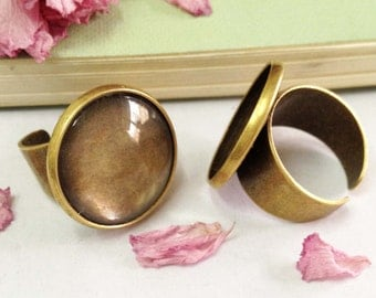 Ring Blanks -8pcs Antique Bronze Brass Adjustable Cabochon Ring Base Setting 25mm with 8pcs Clear Glass Cabs J4007