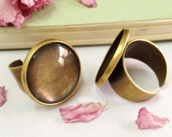 Ring Blanks -5pcs Antique Bronze Brass Adjustable Cabochon Ring Base Setting 25mm with 5pcs Clear Glass Cabs J4007