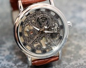Mens Watch, Steampunk watch, See Thru Man Gear Watch Brown Leather Band groomsmen gifts or grooms gift. Comes in gift box! Engraving option!