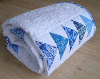 Blue and White modern baby boy handmade quilt Flying geese patchwork quilt