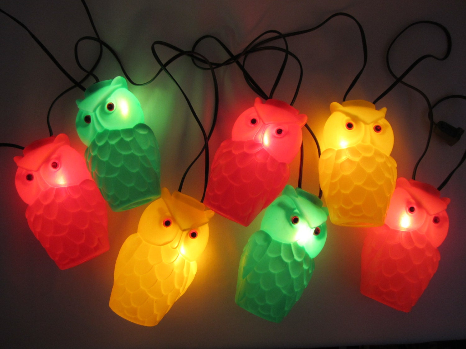 original blow mold owl patio string lights vintage
