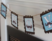 """Blue Chocolate Brown Baby Shower """"Oh Boy"""" Mustache Banner - Ask About our Party Pack Special"""