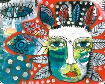 GREEN(WO)MAN outsider art - mixed media - giclee print - naive - folk art- primitive- expressionist