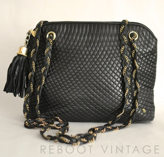 Vintage Bally Italy Black Quilted Classic Leather By