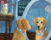 Yellow Lab with a Blue Bow - 8x10 Fine Art Giclee Print