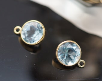 6.0 natural sky blue topaz short bezel 14k gold filled with one ring. Sold by 2