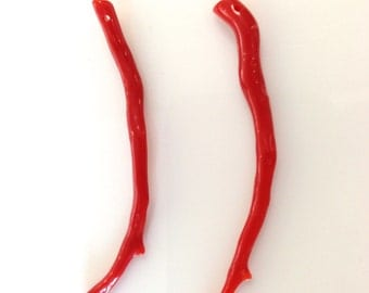 AAA genuine Italian red coral branch 9.5 cts, 50 mm - 54mm long