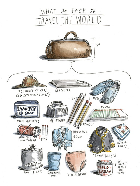 What To Pack Before Traveling The World A Drawing Of Every Item Pioneering Journalist Nellie
