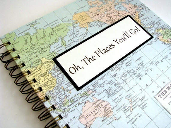 Travel Journal Graduation Gift - You Choose the Map