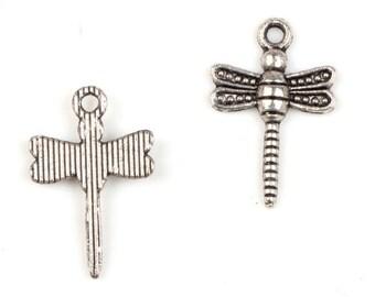 10 Tibetan Silver Dragonflies Flat Back pendant diy charm