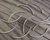 Curved Metal Tube Beads Silver Plated 50x3mm - Great for Leather Bangle Bracelets