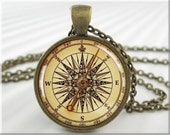 Compass Face Pendant Charm Resin Picture Necklace Jewelry Vintage Nautical Jewellery (545RB)