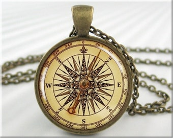 Compass Face Pendant, Resin Picture Necklace, Nautical Art Jewelry, Round Bronze, Gift Under 20, Ships Compass, Nautical Gift (545RB)