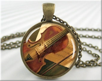 Violin Art Necklace Resin Pendant Violin Jewelry Violinist Gift Musician Jewellery (558RB)