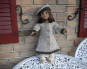 Hand knitted, all wool American girl doll , coat and hat in beige and brown