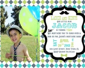 Little Man Mustache Bash Invitation Template 5X7 - Blue Green Grey
