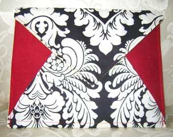 Oversized Envelope Clutch or iPad Case Sleeve, Duchess Damask & Burgundy