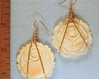 XL Carved Mother of Pearl Flower Wire Wrapped Earrings