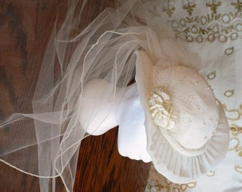 vintage wedding ...  IVORY WEDDING Veil  HAT lovely layers of toille ... vintage wedding